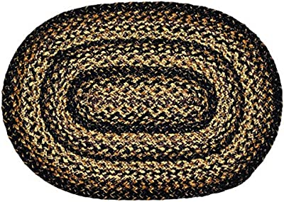 """IHF Home Decor Black Forest Braided Rug 20"""" x 30"""" to 8'x10' Oval Accent Floor Carpet Natural Jute Material Doormat 