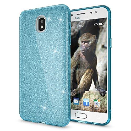 NALIA Custodia compatibile con Samsung Galaxy J3 2017 (EU-Model), Glitter Silicone Case Protezione Sottile Cellulare, Slim Cover Telefono Protettiva Scintillio Bumper, Colore:Turchese