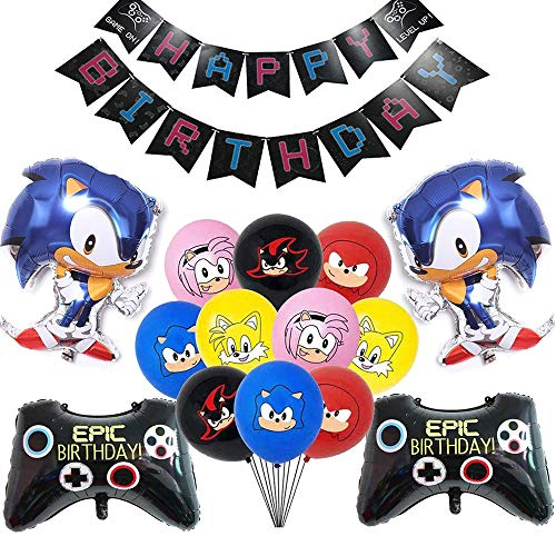 Buy Discount Sonic The Hedgehog Party Supplies,Video Game Party Balloons,Game On Birthday Banner,Son...