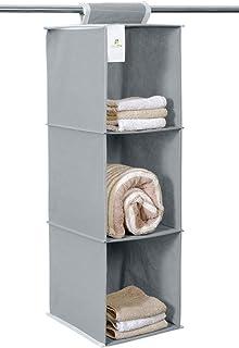 HomeStrap Hanging 3 Shelf Wardrobe Organizer- Grey