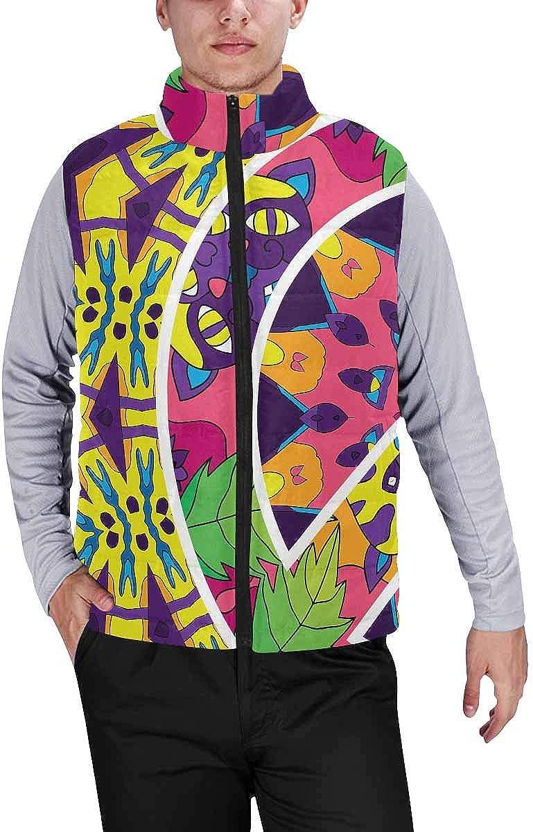 InterestPrint Men's Full-Zip Padded Vest Jacket for Outdoor Activities Hippie Jungle Cats Peace Symbol