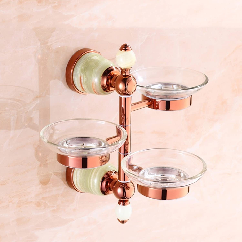 Cpp Shelf Full Copper soap Box Shelf Bathroom can be Activated Three Discs Ceramic Toilet soap shelf (color   A)