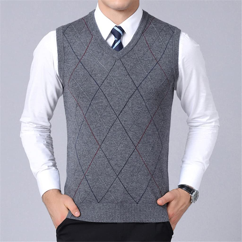 LSDJGDDE Sweater for Mens Pullover Vest Slim Fit Jumpers Knitwear Plaid Autumn Korean Style Casual Men Clothes (Color : Dark Grey, Size : M Code)