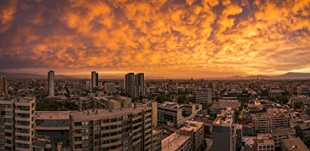 Aerial view of cityscape at sunset Santiago Chile Poster Print (36 x 12)