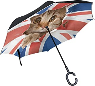ALAZA Cat Kitten British UK Flag Inverted Umbrella, Large Double Layer Outdoor Rain Sun Car Reversible Umbrella