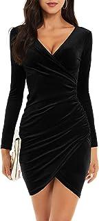 Womens Wrap V Neck Long Sleeve Velvet Bodycon Ruched...