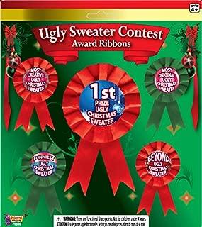 Forum Novelties FBA_75595 Ugly Christmas Sweater Award Ribbons, Multicolor