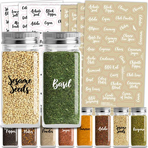 Talented Kitchen 300 Cursive Spice Labels Preprinted – 300 Black & White Labels: Spices + Numbers + Expiration Dates + Blanks. 2 Letter Colors on Clear Stickers. Water Resistant, Spice Jar Labels