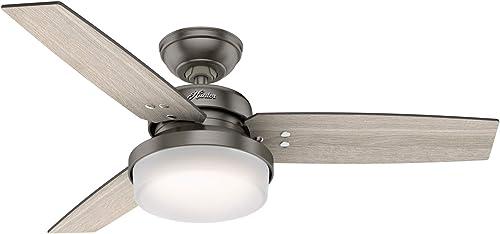"2021 Hunter 2021 50393 Sentinel Indoor Ceiling Fan with LED Light and Remote Control, 44"", Brushed Slate outlet sale Finish online sale"