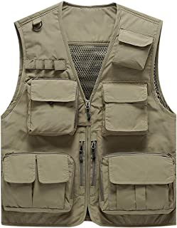 Lightweight Summer Mesh Work Travel Vest with Many Pockets, Outdoor Binoculars Jacket Inner Pocket, Zip Closure, Casual Fishing Sleeveless Vest (Color : Khaki, Size : M)