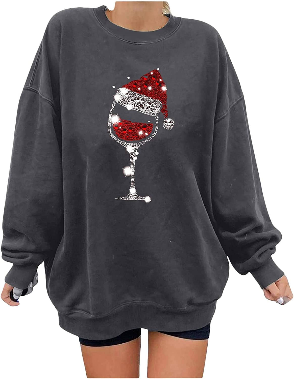 Crewneck Sweatshirts for Women Chriatmas Trendy Wine Glass Vintage Graphic Long Sleeve Shirts Loose Fit Fall Sweaters