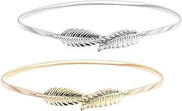 Vestito Cintura Foglia Cinture da Donna Eleganti Donna Elastica Decorativa in Vita Alta Metallo Cintura 2 Pezzi Cinture da Donna Elastico Cintura di Metallo Foglia Cintura in Metallo per Vita