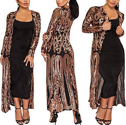 PROMLINK Sequin Cardigans for Women Ankle Length Open Front Jacket(2XL,Black)