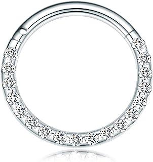 CICIMOTO Hinged Nose Rings Hoop Septum Body Piercing 316L Surgical Steel Jewelry Men Women Girls