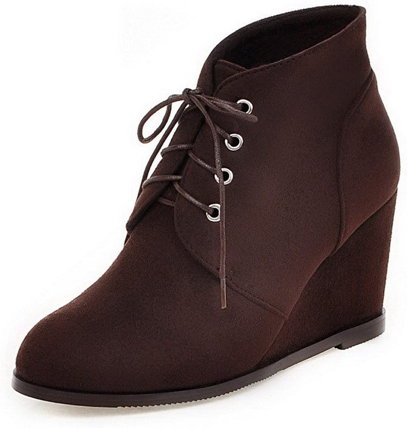 AmoonyFashion Women's Lace-up Round Closed Toe High Heels Fabric Surface Low Top Boots