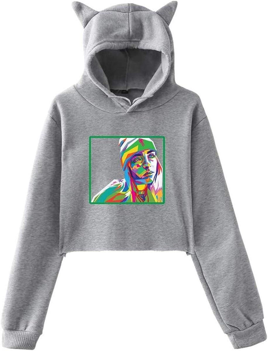 Pull Fille Ado Court Sweat /À Manches Longues Blouse Crop Top pour Adolescente Femmes Sweat Shirt avec Oreilles de Chat VERROL Billie Eilish Sweat-Shirt /à Capuche pour Fille