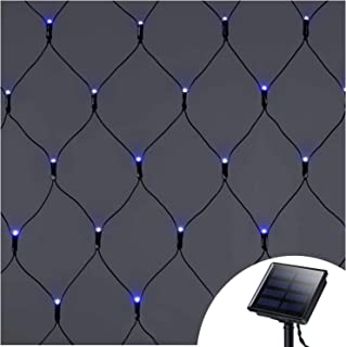 Solar Powered Blue Net Mesh Lights,9.8ft x 6.6ft,200 Led,Dark Green Cable,8 Modes Indoor Outdoor String Linghts for Dance Bush Weekend Party Exhibition Concert Bar Library Backrest Ferry Pathway RV