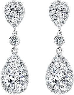 Damen 925 Sterling Silber Elegant Hochzeit Braut Cubic Zirconia Unendlichkeit Tropfen Pierced Dangle Ohrringe