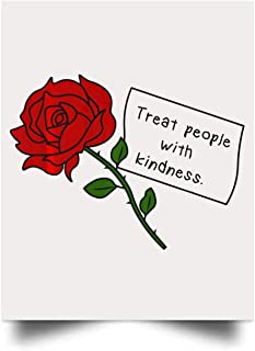 vyvystr Treat People with Kindness Rose Wall Art Print Poster Home Decor(17x22)
