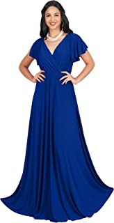 Womens Long V-Neck Ruffle Sleeveless Bridesmaid Prom Gown Maxi Dress