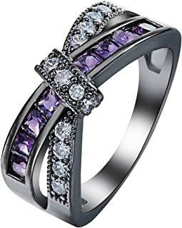 Promise Women Mystery Cross Fashion Love Eternity Gold Filled Vintage Wedding Birthday Stone Gifts Purple Black Rings