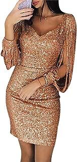 Women's Sexy Sequin Tassel Long Sleeve Bodycon Club Party Mini Dress
