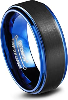 8mm Blue Tungsten Wedding Bands Black MatteEngagement Rings for Couples Size 6-13