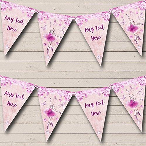 Party Banner Bunting Ballerina Ballet Aquarel Roze Gepersonaliseerd Kinderen Small