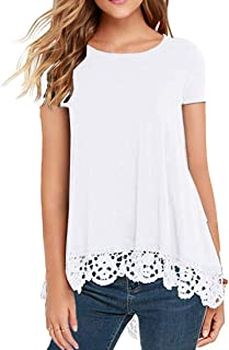 Women's Tops Long Sleeve Lace Trim O-Neck A-Line Tunic Blouse
