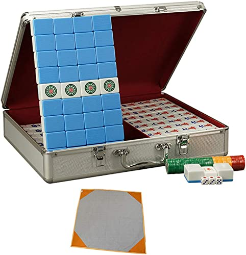 Game Mahjong Set, Boîte Cadeau en Aluminium exquise,Production Mélamine, Coffret De Mah Jong Majiang Jeu De Societe Majong,Grand Petit Style,bleu,XXL