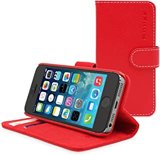 Snugg iPhone SE 1 (2016) Case, Leather Flip Case [Card Slots] Executive Apple iPhone SE Wallet Case Cover and Stand - Red
