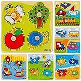 LAMEIDA Juguetes Educativo Juguetes Juegos Juguetes Rompecabezas de Madera con Animales para Niño Bebé Muchacho Muchacha Niña(Color Azar)-1pcs 14.8*14.8*0.6CM