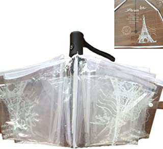 WerFamily Clear Transparent Compact Folding Umbrella Eiffel Tower Pattern