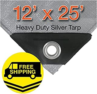 12' x 25' Heavy Duty Silver/Black Waterproof UV Blocking 10 Mil Poly Tarp