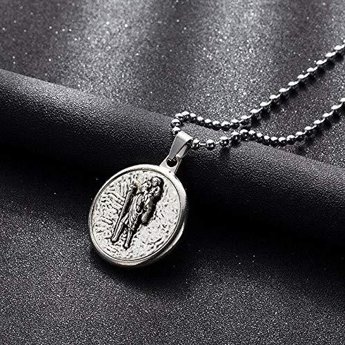 CLEARNICE Collar de Hombre Tradición Virgen María Collares Pendientes De Dos Lados Collar De Nuestra Señora Y El Espíritu Santo Joyería De Jesús