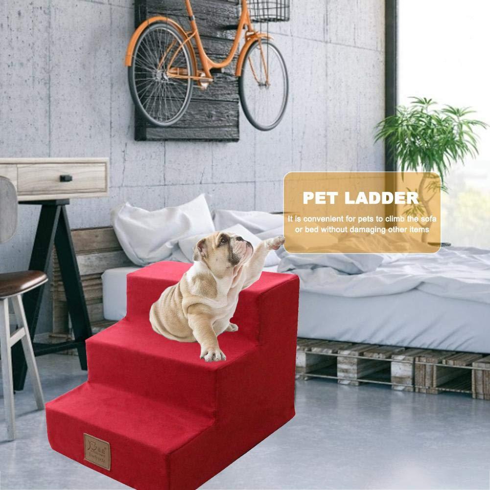 Huaqiang Escaleras para Mascotas Escaleras de 3 escalones Pasos para Perros y Gatos Escalera con rampa para Mascotas, Escaleras de Esponja ecológica para Gatos y Perros - Lavable (3/4 Capas): Amazon.es: Hogar