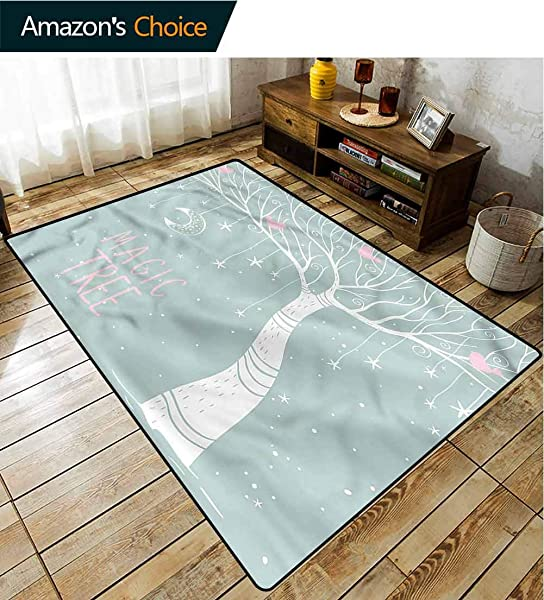 TableCoversHome Magical Abstract Area Rug For Bedroom Stars Moon Pastel Colored Pattern Printing Rugs Fashionable High Class Living Dinning Room 2 X 6