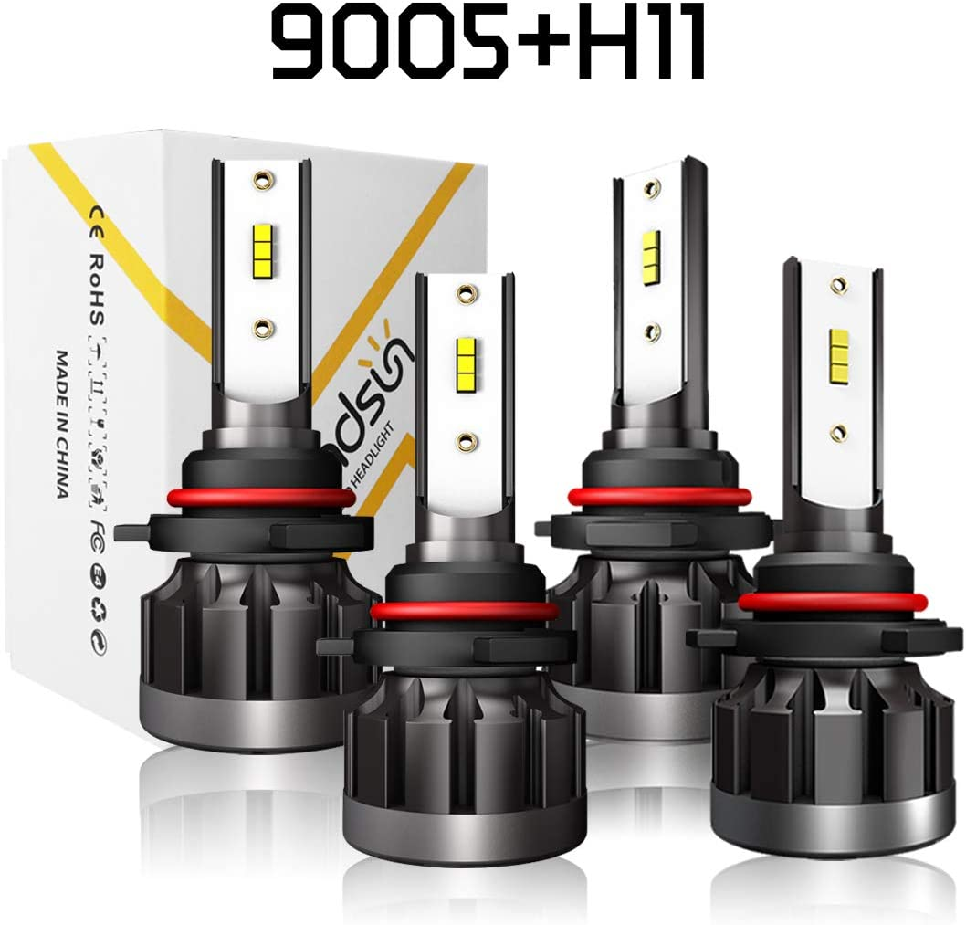 9005+H11 A-Partrix 9005 H11 LED Headlight Bulb 6000K 80W 8000 Lumens Xenon White Extremely Bright High//Low Beam All-in-One