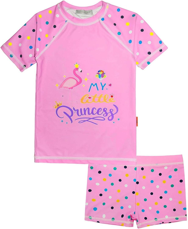 weVSwe Girls Short Sleeve Rash Guard Sun Swimsuit UPF Tulsa Mall 50+ Pr New sales Set