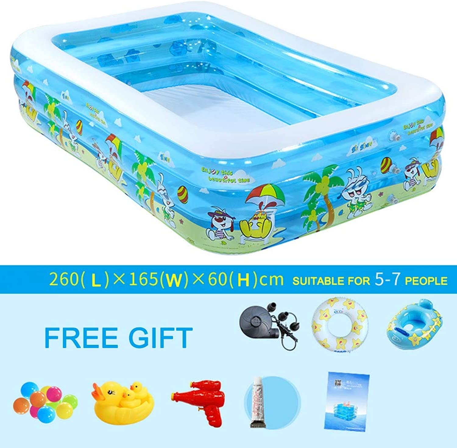 Kids Inflatable Swimming Pool, Adult Inflatable Pool for Summer Party, Rectangular Family Swimming Pool for Kids, for Ages 3+,260  165  60