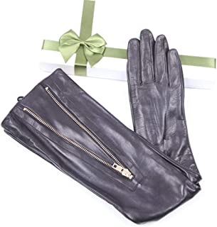 SHENTIANWEI Women's Leather Thin Metal Zipper Long High-end Evening Dress Gloves (Color : Black, Size : L)