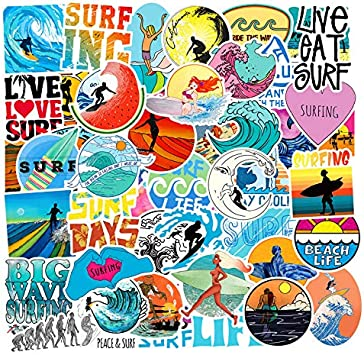 50 Pcs Summer Surfing Sticker Pack Travel Stickers Laptop Suitcase Stickers Skateboard Stickers Decoration Stickers Ver.2