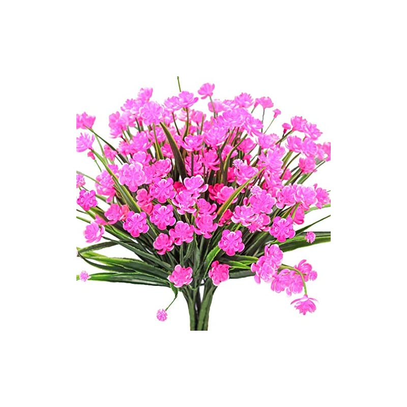 silk flower arrangements artificial daffodils flowers,pink fake plant outdoor faux greenery bushes fence indoor outside décor 8pcs