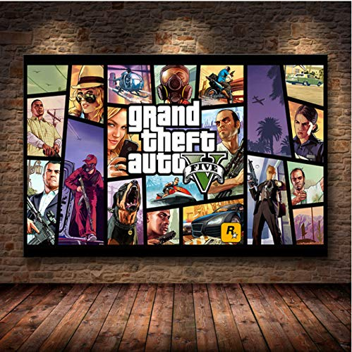 LGXINGLIyidian Grand Theft Auto V Spiel Poster GTA 5 Leinwand Kunstdruck Gemälde Wandbilder Für Raumdekoration Innendekoration Wanddekoration Ohne Rahmen Ku263 40X50Cm