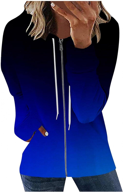 AODONG Women Zip Up Sweatshirts,Womens Hoodies Jackets Gradient Printed Long Sleeve Drawstring Stretchy Casual Pullover