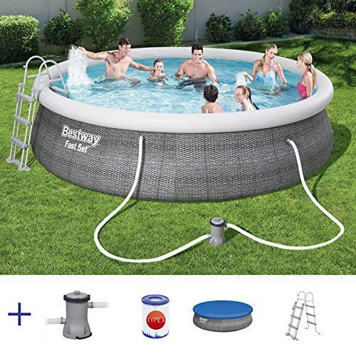 RAMROXX A38366 BESTWAY Pool Swimmingpool Set Rund Rattan Optik