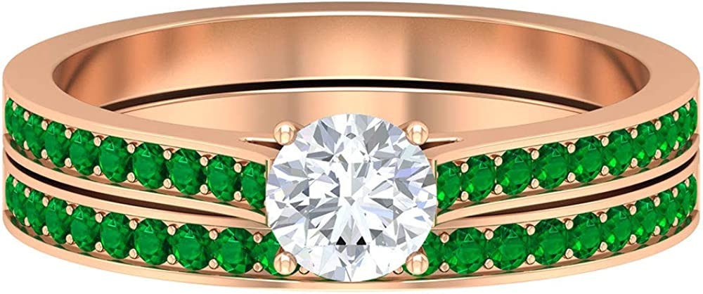 5 MM Round Pointer Max 79% OFF Diamond Ring and HI-SI Emerald Popular overseas