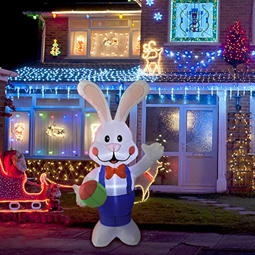 VCUTEKA Easter Inflatable Bunny Pushing Wheelbarrow with Eggs Blow Up Outdoor Decorations Lighted LED Lights Holiday Party Display Yard Lawn Patio Decorations 4FT 6FT Indoor Outside Decor