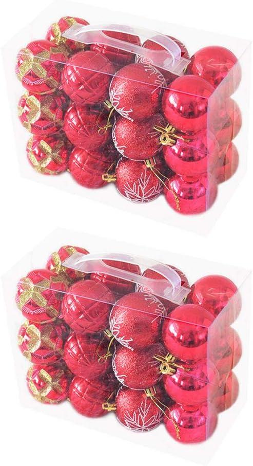 WINOMO 2sets 48Pcs Painting Christmas Shiny NEW before Rare selling Ornaments 60mm Ball