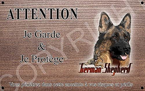 Pets-Easy.com Attention Chien de Garde personnalisée German Shepherd - pré percée et vis fournies. De 30 cm à 15 cm…